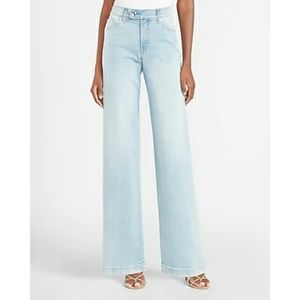 NWT Express Mid-Rise Button Tab Wide Leg Jeans 12L